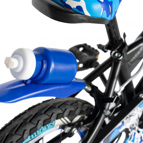 "Bicicleta baieti RICH BABY R14WTA, roata 14"", roti ajutatoare cu LED, 3-5 ani, culoare negru/albastru 2"