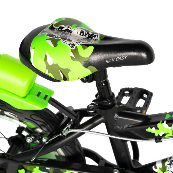 "Bicicleta baieti  RICH BABY R14WTA, roata 14"", roti ajutatoare cu LED, 3-5 ani, culoare negru/verde 1"