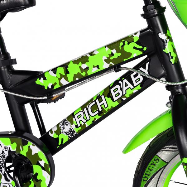 "Bicicleta baieti  RICH BABY R14WTA, roata 14"", roti ajutatoare cu LED, 3-5 ani, culoare negru/verde 4"