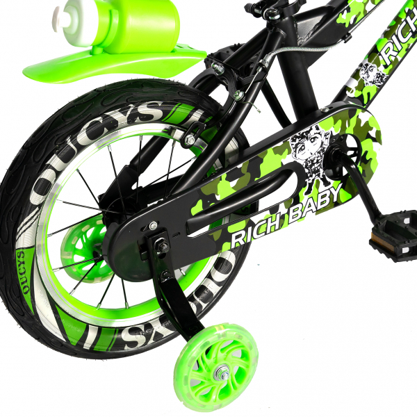 "Bicicleta baieti  RICH BABY R14WTA, roata 14"", roti ajutatoare cu LED, 3-5 ani, culoare negru/verde 3"