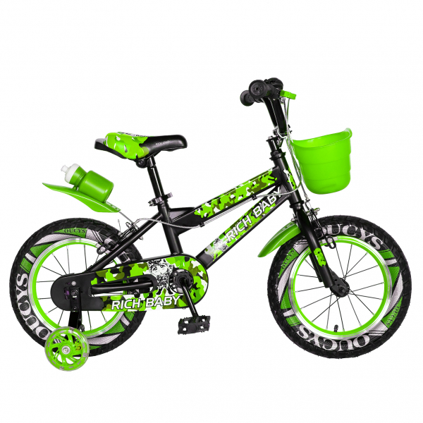 "Bicicleta baieti  RICH BABY R14WTA, roata 14"", roti ajutatoare cu LED, 3-5 ani, culoare negru/verde 0"