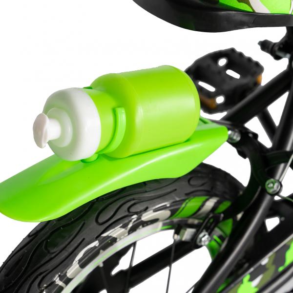 "Bicicleta baieti  RICH BABY R14WTA, roata 14"", roti ajutatoare cu LED, 3-5 ani, culoare negru/verde 2"