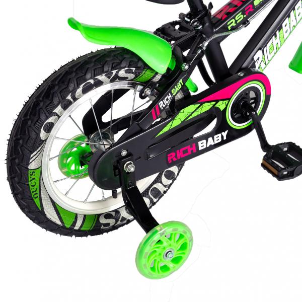 "Bicicleta baieti RICH BABY R14WTB, roata 14"", roti ajutatoare, 3-5 ani, culoare negru/verde 2"