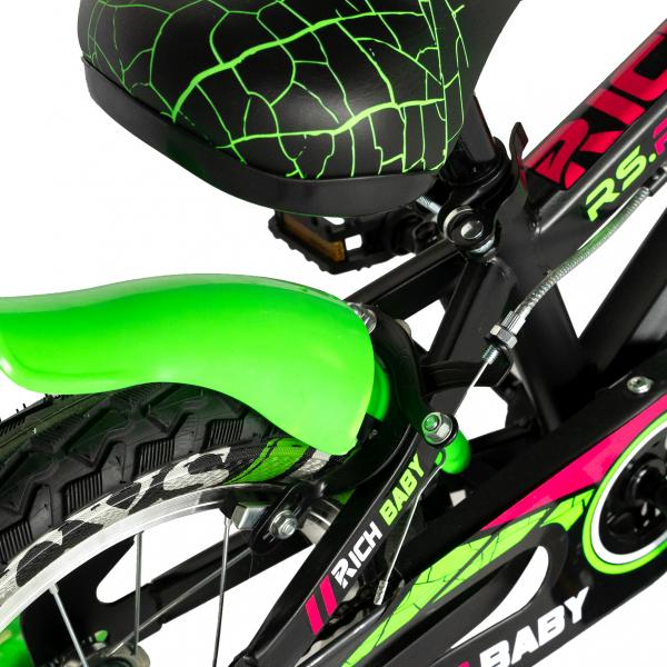 "Bicicleta baieti RICH BABY R14WTB, roata 14"", roti ajutatoare, 3-5 ani, culoare negru/verde 1"