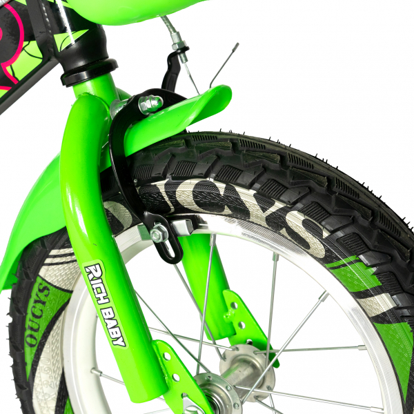 "Bicicleta baieti RICH BABY R14WTB, roata 14"", roti ajutatoare, 3-5 ani, culoare negru/verde 4"