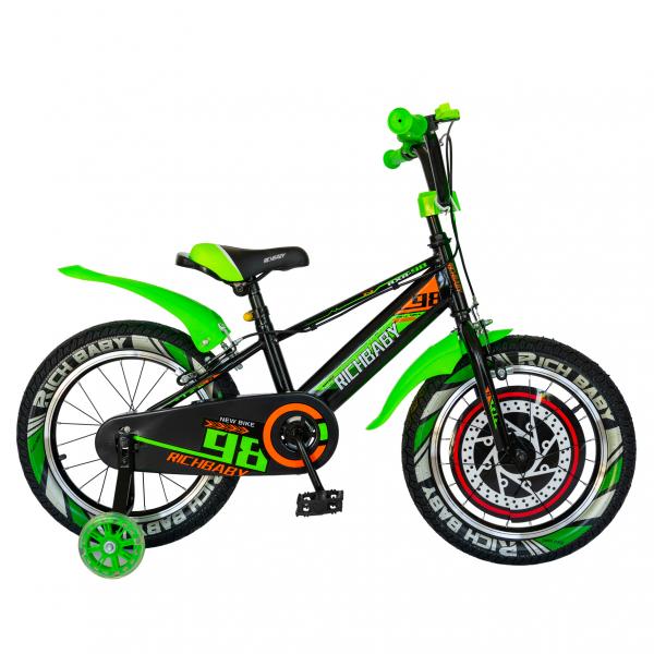 """Bicicleta baieti Rich Baby R1607A, roata 16"""", C-Brake otel,  roti ajutatoare cu LED, 4-6 ani, negru/verde 0"""