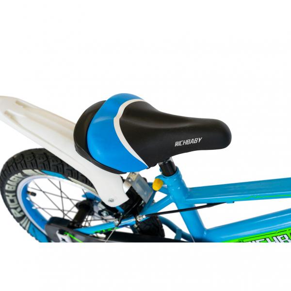 "Bicicleta baieti Rich Baby R1807A, roata 18"", C-Brake otel, roti ajutatoare cu LED, 5-7 ani, albastru/alb 2"