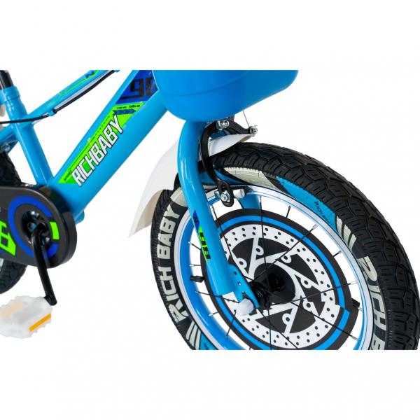"Bicicleta baieti Rich Baby R1807A, roata 18"", C-Brake otel, roti ajutatoare cu LED, 5-7 ani, albastru/alb 4"