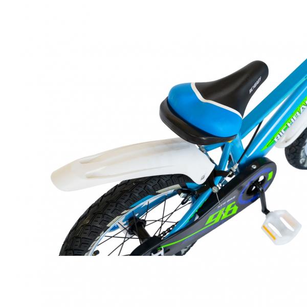 "Bicicleta baieti Rich Baby R1807A, roata 18"", C-Brake otel, roti ajutatoare cu LED, 5-7 ani, albastru/alb 3"