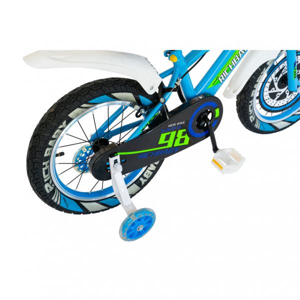 "Bicicleta baieti Rich Baby R1807A, roata 18"", C-Brake otel, roti ajutatoare cu LED, 5-7 ani, albastru/alb 6"