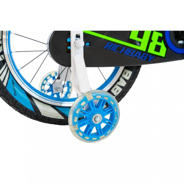 "Bicicleta baieti Rich Baby R1807A, roata 18"", C-Brake otel, roti ajutatoare cu LED, 5-7 ani, albastru/alb 5"