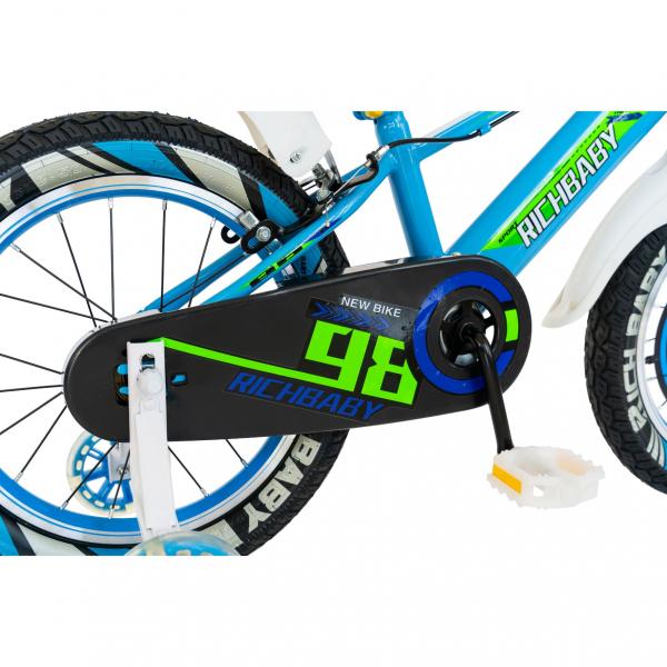 "Bicicleta baieti Rich Baby R1807A, roata 18"", C-Brake otel, roti ajutatoare cu LED, 5-7 ani, albastru/alb 1"