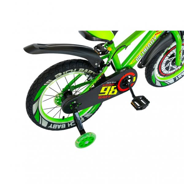 """Bicicleta baieti Rich Baby R1807A, roata 18"""", C-Brake otel, roti ajutatoare cu LED, 5-7 ani, verde/negru 4"""