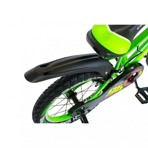 """Bicicleta baieti Rich Baby R1807A, roata 18"""", C-Brake otel, roti ajutatoare cu LED, 5-7 ani, verde/negru 3"""