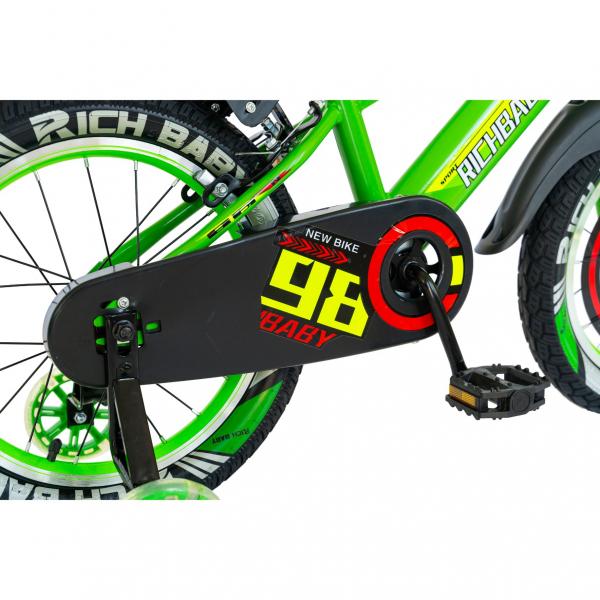 """Bicicleta baieti Rich Baby R1807A, roata 18"""", C-Brake otel, roti ajutatoare cu LED, 5-7 ani, verde/negru 2"""