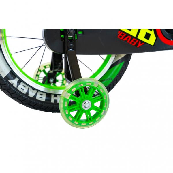 """Bicicleta baieti Rich Baby R1807A, roata 18"""", C-Brake otel, roti ajutatoare cu LED, 5-7 ani, verde/negru 6"""