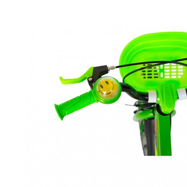 """Bicicleta baieti Rich Baby R1807A, roata 18"""", C-Brake otel, roti ajutatoare cu LED, 5-7 ani, verde/negru 7"""