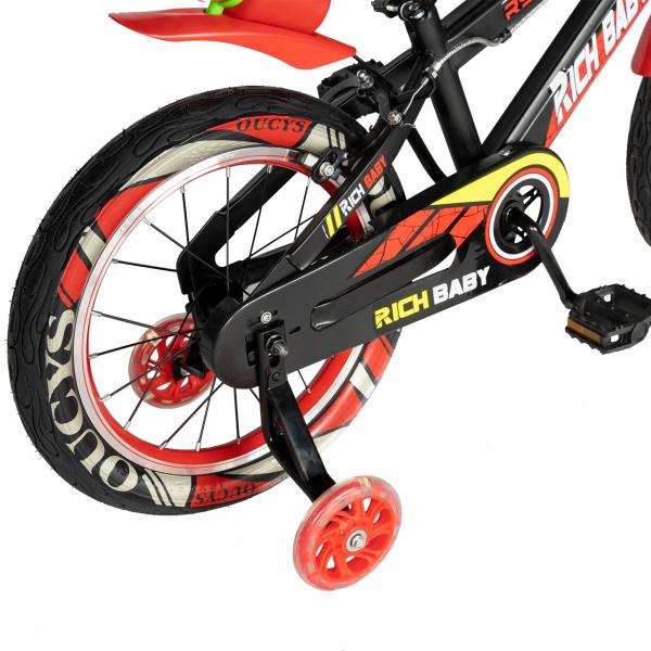 "Bicicleta baieti RICH BABY R16WTB, roata 16"", roti ajutatoare, 4-6 ani, culoare negru/rosu 2"