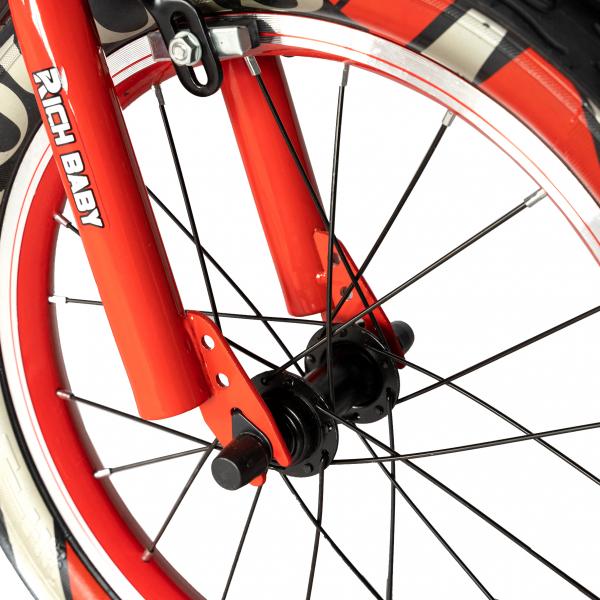 "Bicicleta baieti RICH BABY R16WTB, roata 16"", roti ajutatoare, 4-6 ani, culoare negru/rosu 4"