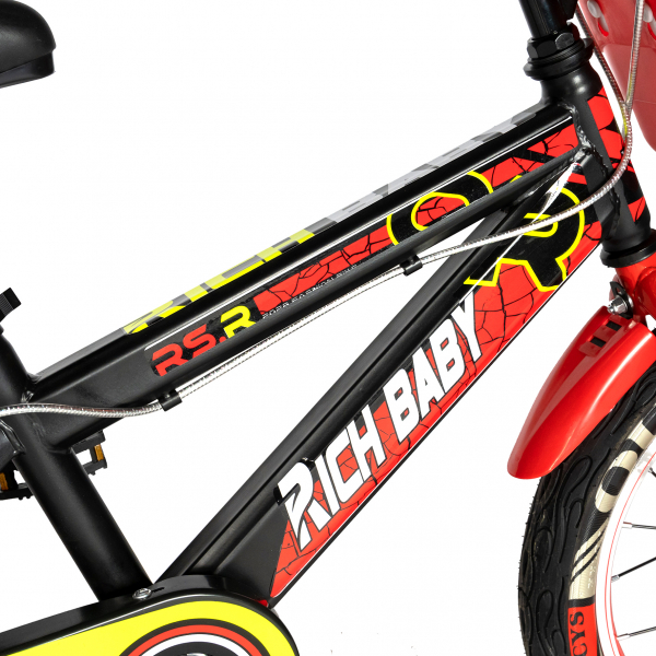 "Bicicleta baieti RICH BABY R16WTB, roata 16"", roti ajutatoare, 4-6 ani, culoare negru/rosu 3"