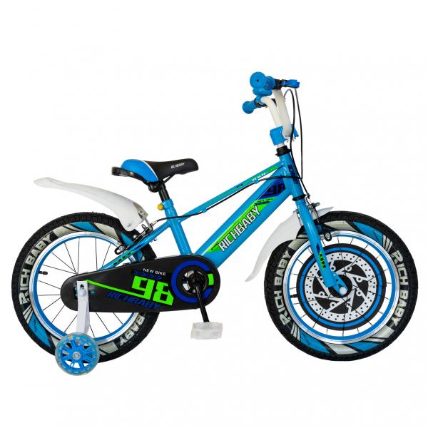 "Bicicleta baieti Rich Baby R1807A, roata 18"", C-Brake otel, roti ajutatoare cu LED, 5-7 ani, albastru/alb 0"