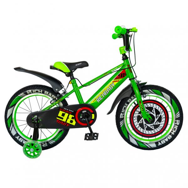 """Bicicleta baieti Rich Baby R1807A, roata 18"""", C-Brake otel, roti ajutatoare cu LED, 5-7 ani, verde/negru 0"""