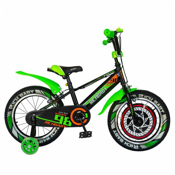 """Bicicleta baieti Rich Baby R1807A, roata 18"""", C-Brake otel, roti ajutatoare cu LED, 5-7 ani, negru/verde 0"""