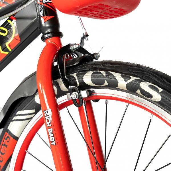 """Bicicleta baieti RICH BABY R20WTB, roata 20"""", 7-10 ani, culoare negru/rosu 5"""