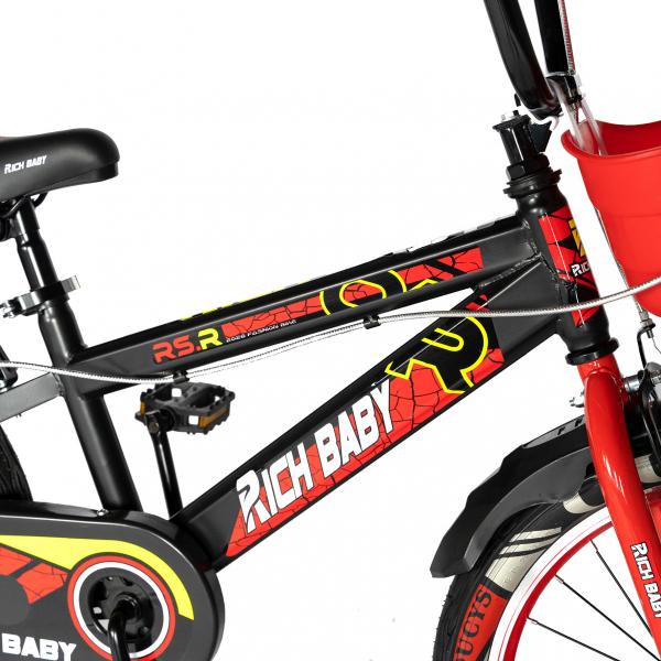 """Bicicleta baieti RICH BABY R20WTB, roata 20"""", 7-10 ani, culoare negru/rosu 3"""