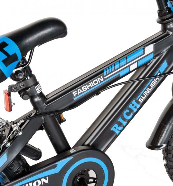 "Bicicleta baieti Rich Baby T1202C, roata 12"", C-Brake, roti ajutatoare, 2-4 ani, negru/albastru [6]"