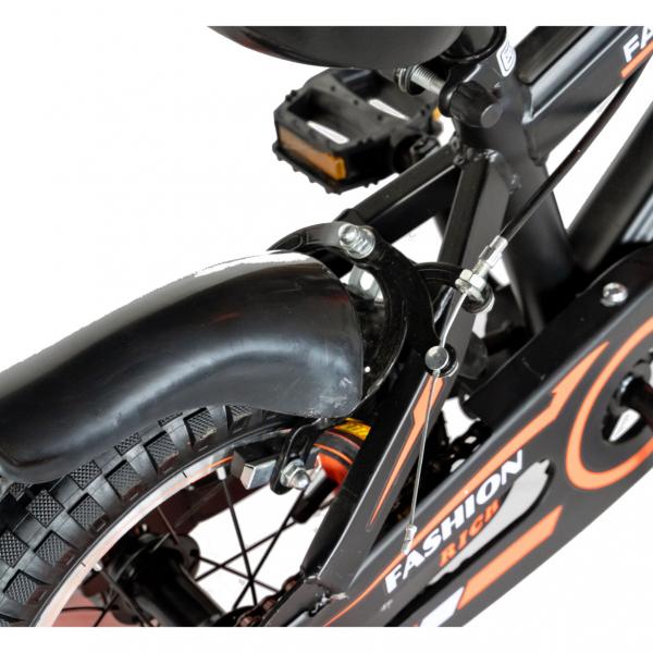 "Bicicleta baieti Rich Baby T1202C, roata 12"", C-Brake, roti ajutatoare, 2-4 ani, negru/portocaliu [4]"