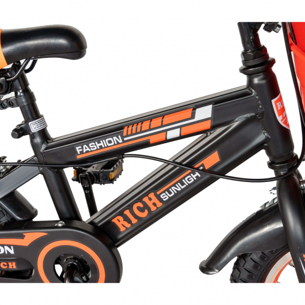 "Bicicleta baieti Rich Baby T1202C, roata 12"", C-Brake, roti ajutatoare, 2-4 ani, negru/portocaliu [5]"