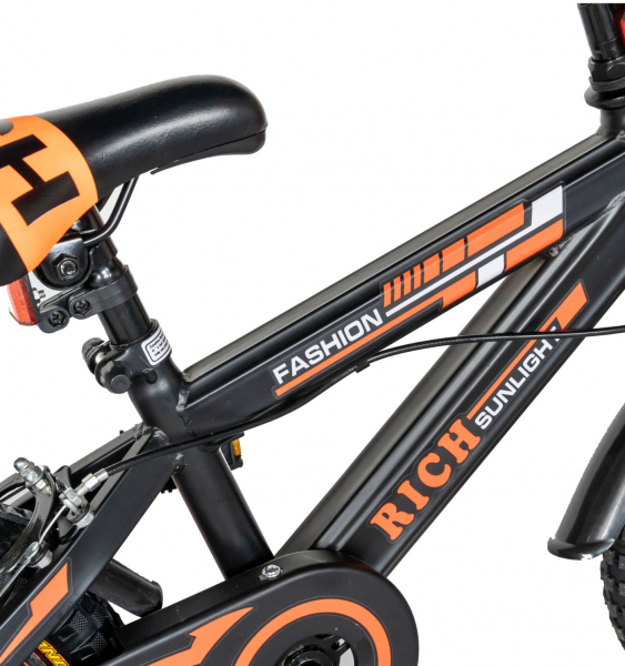 "Bicicleta baieti Rich Baby T1202C, roata 12"", C-Brake, roti ajutatoare, 2-4 ani, negru/portocaliu [6]"