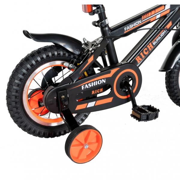 "Bicicleta baieti Rich Baby T1202C, roata 12"", C-Brake, roti ajutatoare, 2-4 ani, negru/portocaliu [2]"