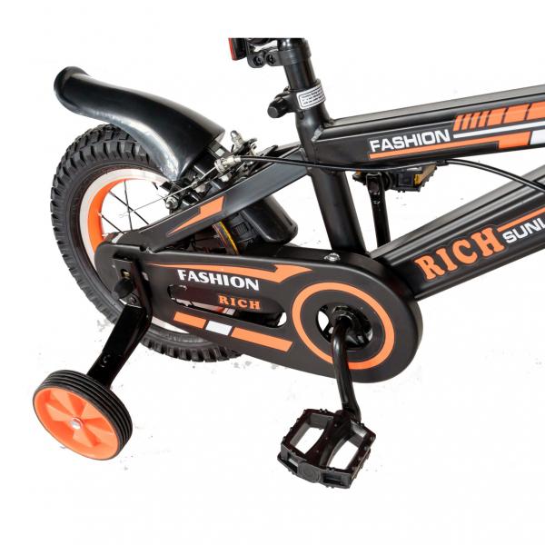 "Bicicleta baieti Rich Baby T1202C, roata 12"", C-Brake, roti ajutatoare, 2-4 ani, negru/portocaliu [3]"