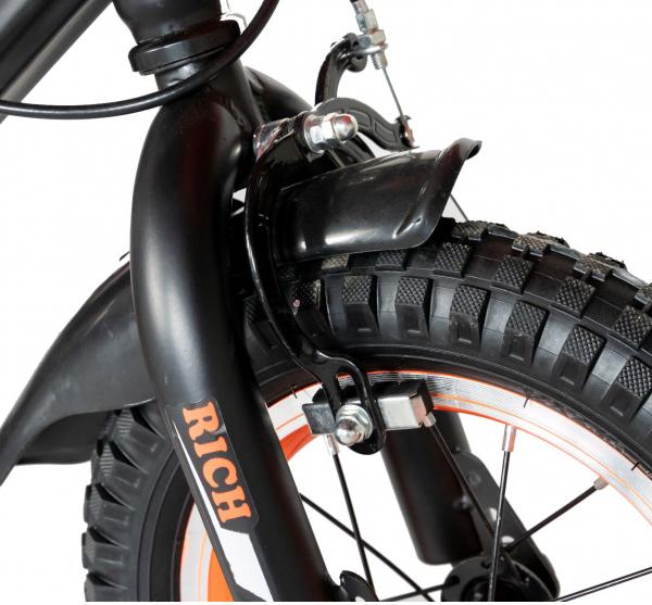 "Bicicleta baieti Rich Baby T1202C, roata 12"", C-Brake, roti ajutatoare, 2-4 ani, negru/portocaliu [7]"