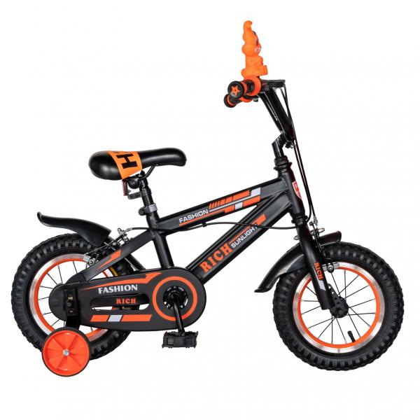 "Bicicleta baieti Rich Baby T1202C, roata 12"", C-Brake, roti ajutatoare, 2-4 ani, negru/portocaliu [0]"