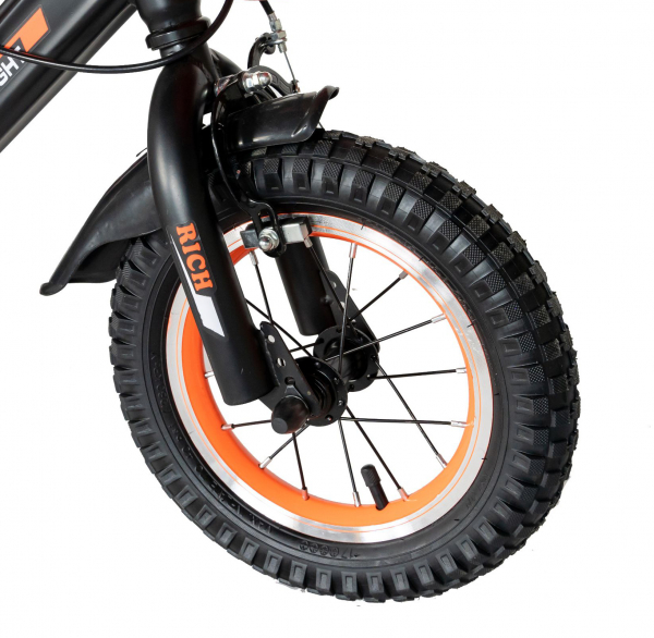 "Bicicleta baieti Rich Baby T1202C, roata 12"", C-Brake, roti ajutatoare, 2-4 ani, negru/portocaliu [8]"