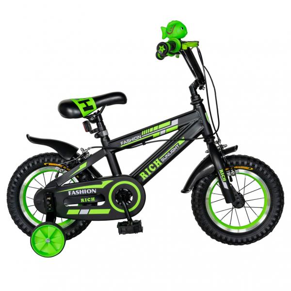 "Bicicleta baieti Rich Baby T1202C, roata 12"", C-Brake, roti ajutatoare, 2-4 ani, negru/verde [0]"