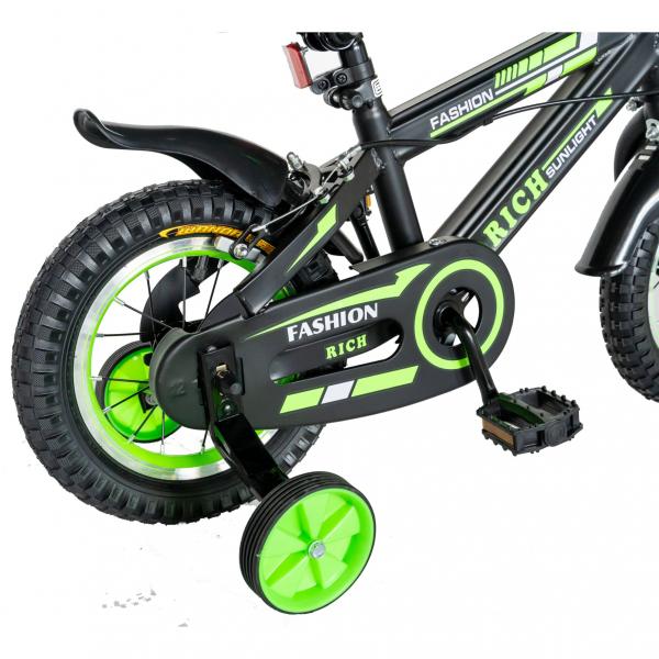 "Bicicleta baieti Rich Baby T1202C, roata 12"", C-Brake, roti ajutatoare, 2-4 ani, negru/verde [2]"