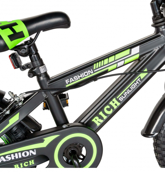 "Bicicleta baieti Rich Baby T1202C, roata 12"", C-Brake, roti ajutatoare, 2-4 ani, negru/verde [6]"