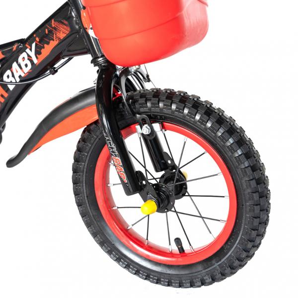 "Bicicleta baieti Rich Baby T1204C, roata 12"", C-Brake,  roti ajutatoare, 2-4 ani, negru/rosu 6"