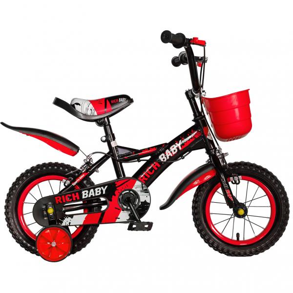 "Bicicleta baieti Rich Baby T1204C, roata 12"", C-Brake,  roti ajutatoare, 2-4 ani, negru/rosu 0"