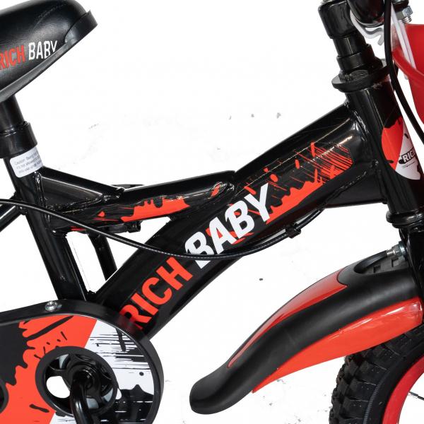 "Bicicleta baieti Rich Baby T1204C, roata 12"", C-Brake,  roti ajutatoare, 2-4 ani, negru/rosu 4"