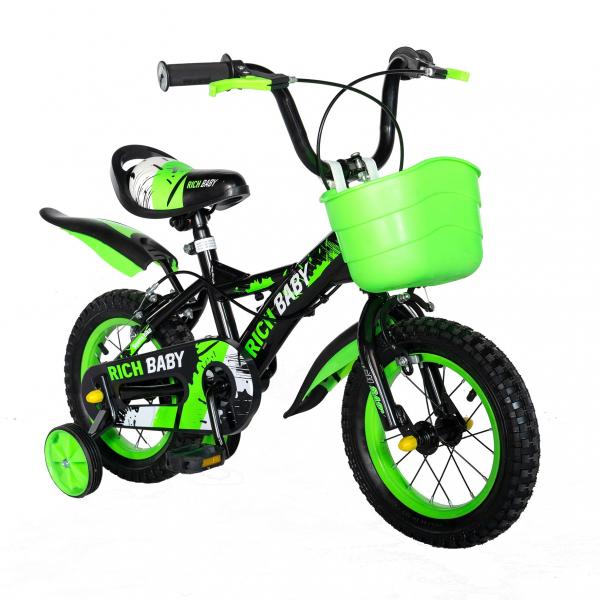 "Bicicleta baieti Rich Baby T1204C, roata 12"", C-Brake,  roti ajutatoare, 2-4 ani, negru/verde 1"