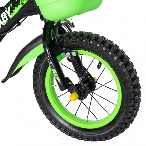 "Bicicleta baieti Rich Baby T1204C, roata 12"", C-Brake,  roti ajutatoare, 2-4 ani, negru/verde 5"