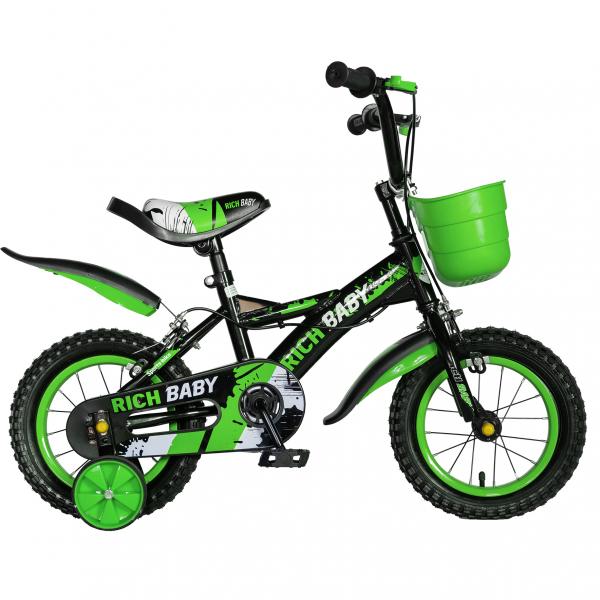 "Bicicleta baieti Rich Baby T1204C, roata 12"", C-Brake,  roti ajutatoare, 2-4 ani, negru/verde 0"