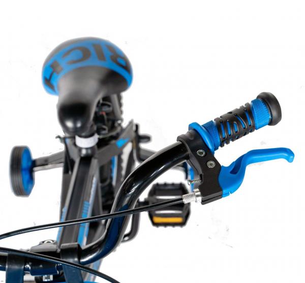 "Bicicleta baieti Rich Baby T1602C, roata 16"", C-Brake, roti ajutatoare, 4-6 ani, negru/albastru [8]"