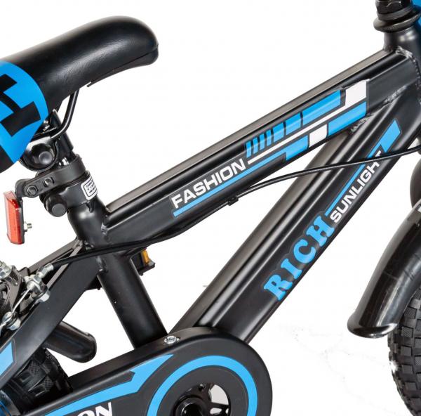 "Bicicleta baieti Rich Baby T1602C, roata 16"", C-Brake, roti ajutatoare, 4-6 ani, negru/albastru [5]"