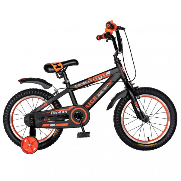 "Bicicleta baieti Rich Baby T1602C, roata 16"", C-Brake, roti ajutatoare, 4-6 ani, negru/portocaliu [0]"